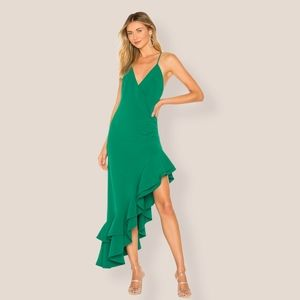 Lovers + Friends Evergreen Ruched Ruffled Gown
